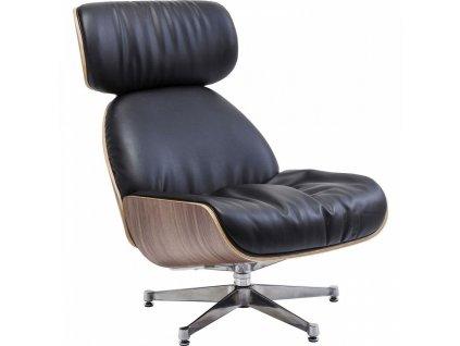 Černá kožená otočná židle Ponte s kovovou podnoží
