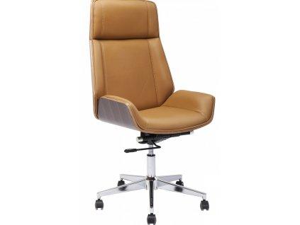 Hnědá kožená kancelářská židle High Bossy s kovovou podnoží a dřevěným korpusem
