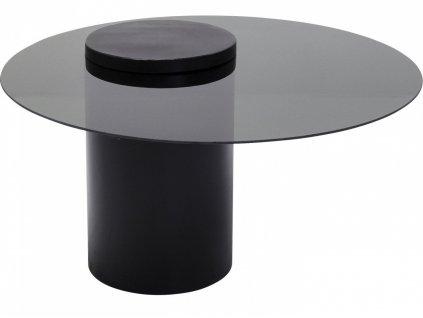Černý kulatý konferenční stolek Loft 80 cm s kovovou podnoží