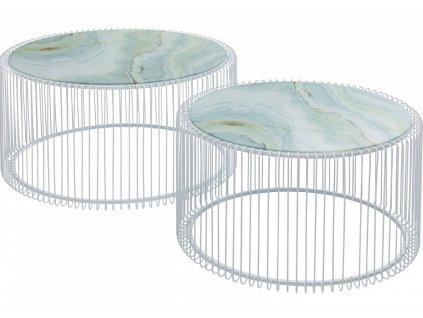 Set dvou bílých mramorových konferenčních stolků Wire