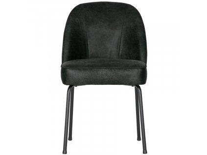 Černá kožená čalouněná jídelní židle Tergi s kovovou podnoží