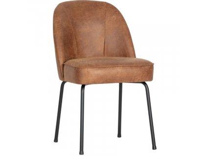 Koňakově hnědá kožená čalouněná jídelní židle Tergi s kovovou podnoží