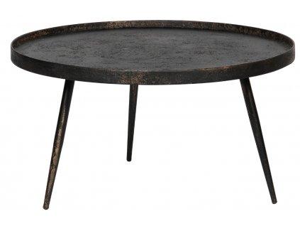 Černý kovový konferenční stolek Buster XL s patinou 76 cm