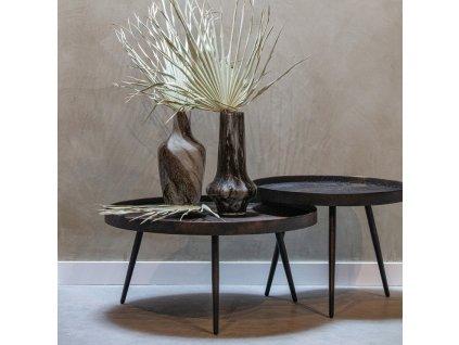 Kovový černý konferenční stolek Buster XL s patinou