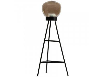 Černá kovová stojací lampa Vivian s hnědým skleněným foukaným stínidlem
