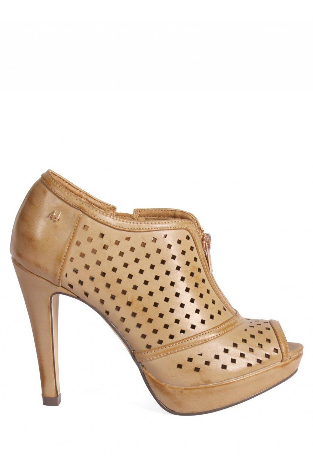 Hnědé děrované boty na podpatku MARIA MARE
