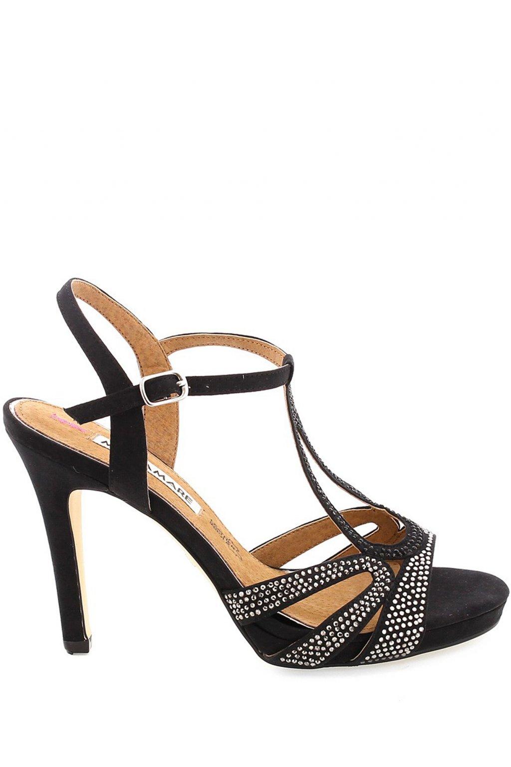 Černé zdobené páskové sandály na podpatku MARIA MARE