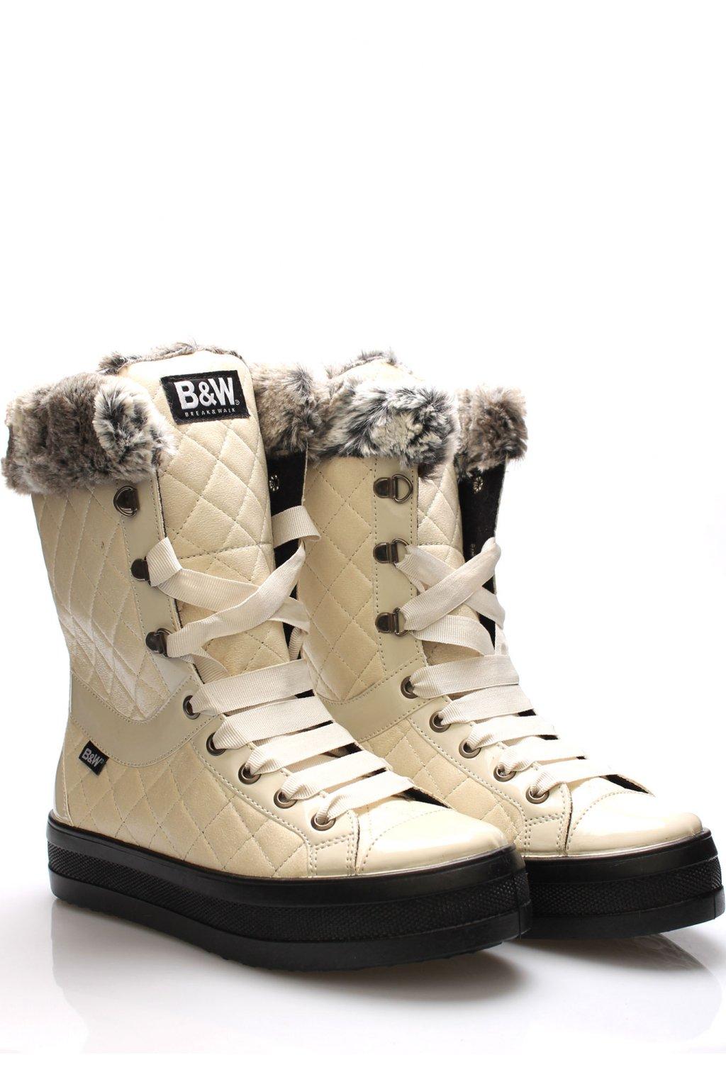Bílé elegantní sněhule s kožíškem Break&Walk