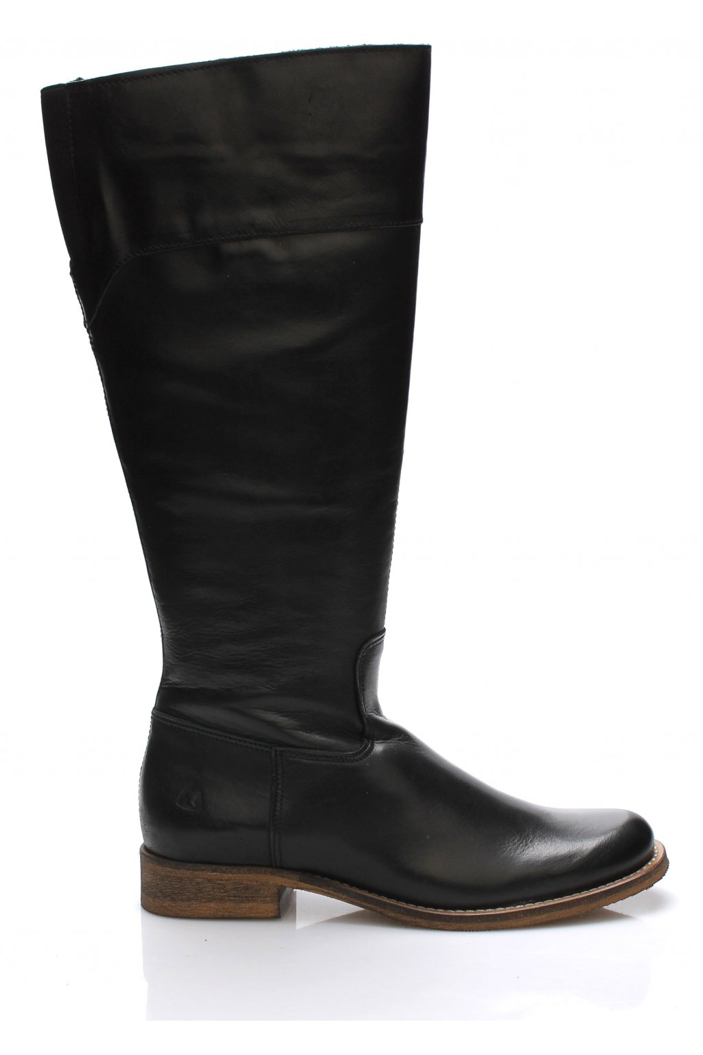 Černé kožené kozačky s elastickou vsadkou Online Shoes