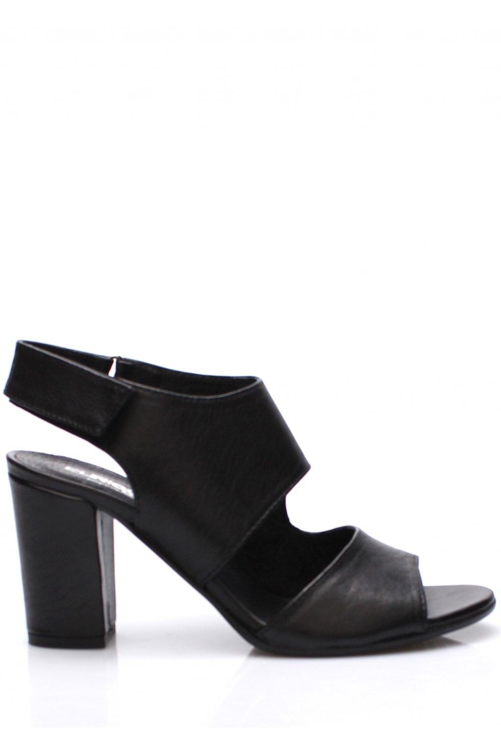 Černé italské otevřené kožené boty na podpatku V&C