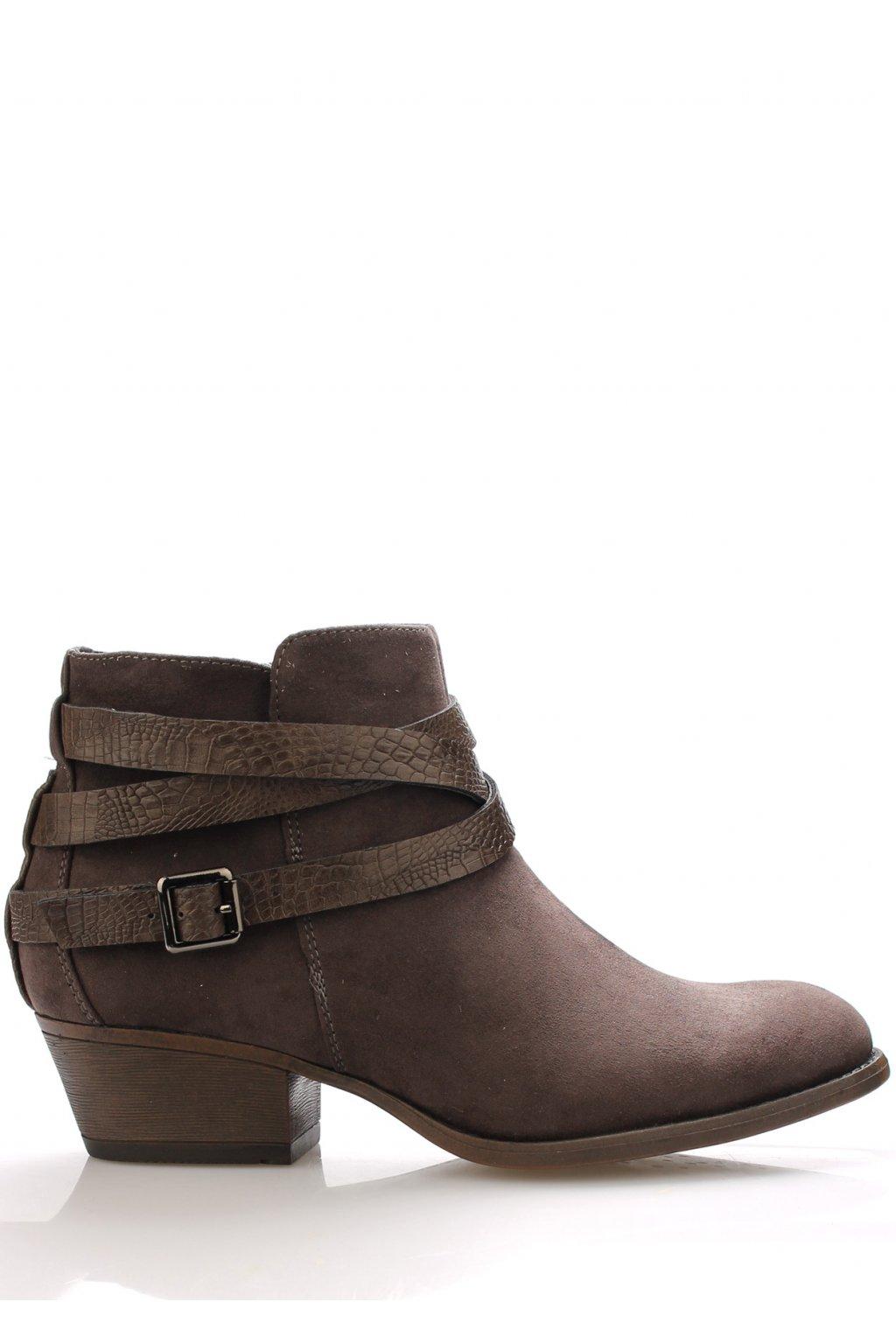 Šedé boty na podpatku s řemínky Claudia Ghizzani