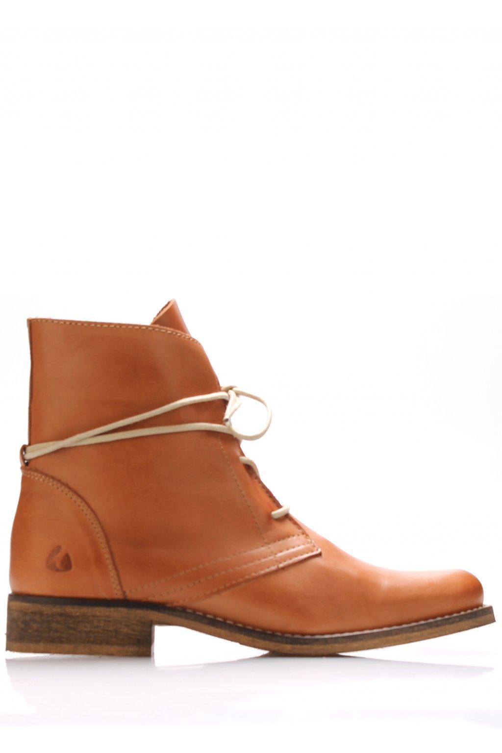 Koňakově hnědé kožené šněrovací boty Online Shoes