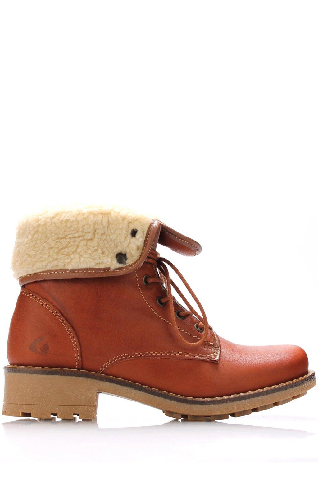 Hnědé kožené kotníkové boty s kožíškem Online Shoes