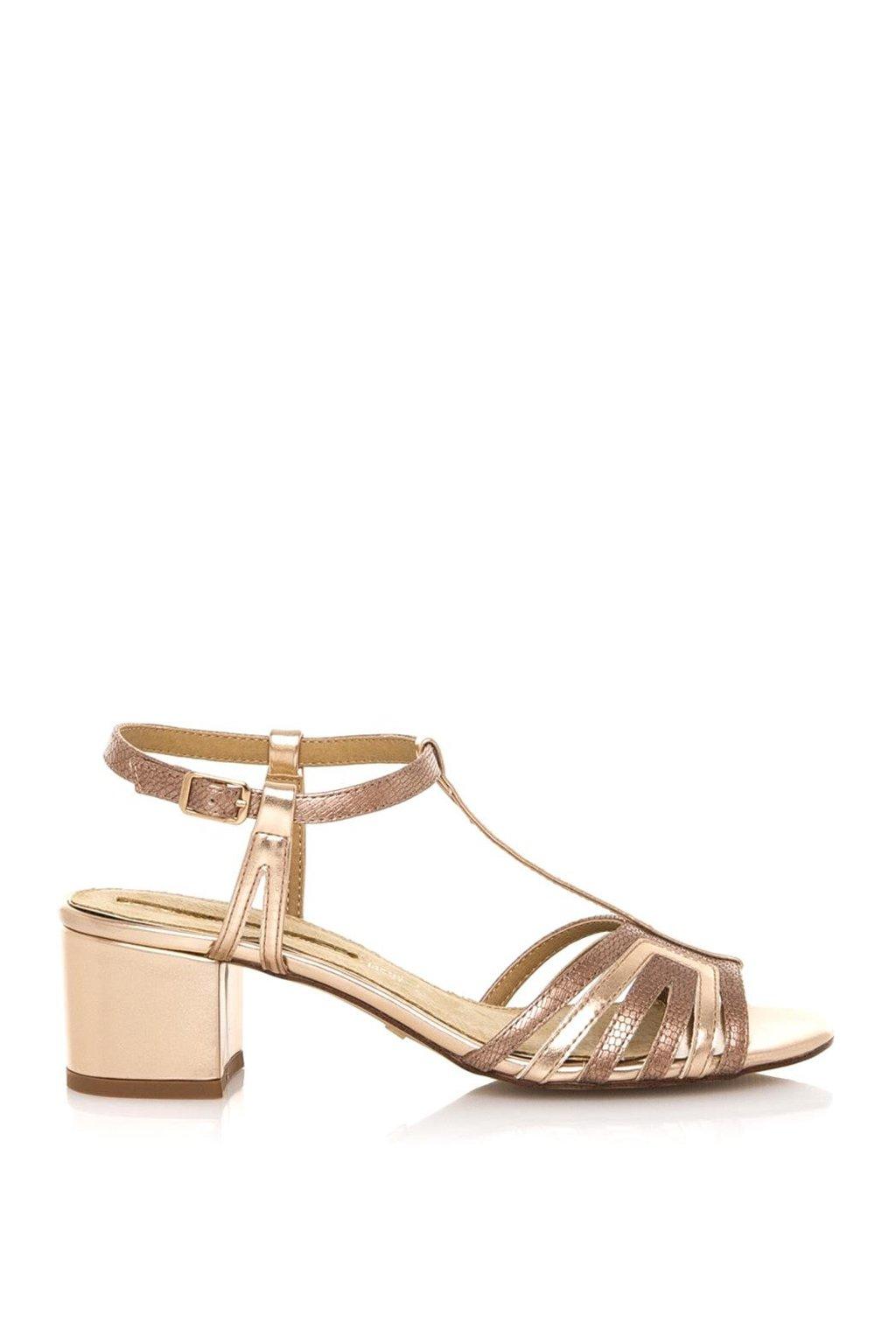 Béžové sandály na nízkém širokém podpatku Maria Mare