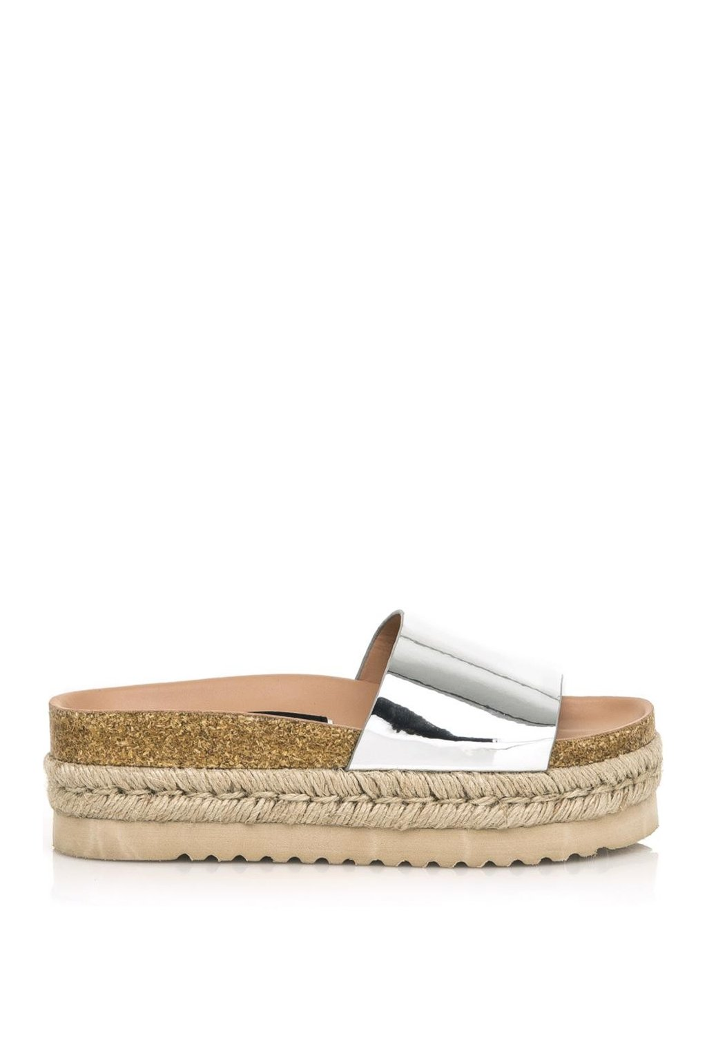 Štříbrné pantofle s espadrilovou podrážkou MTNG
