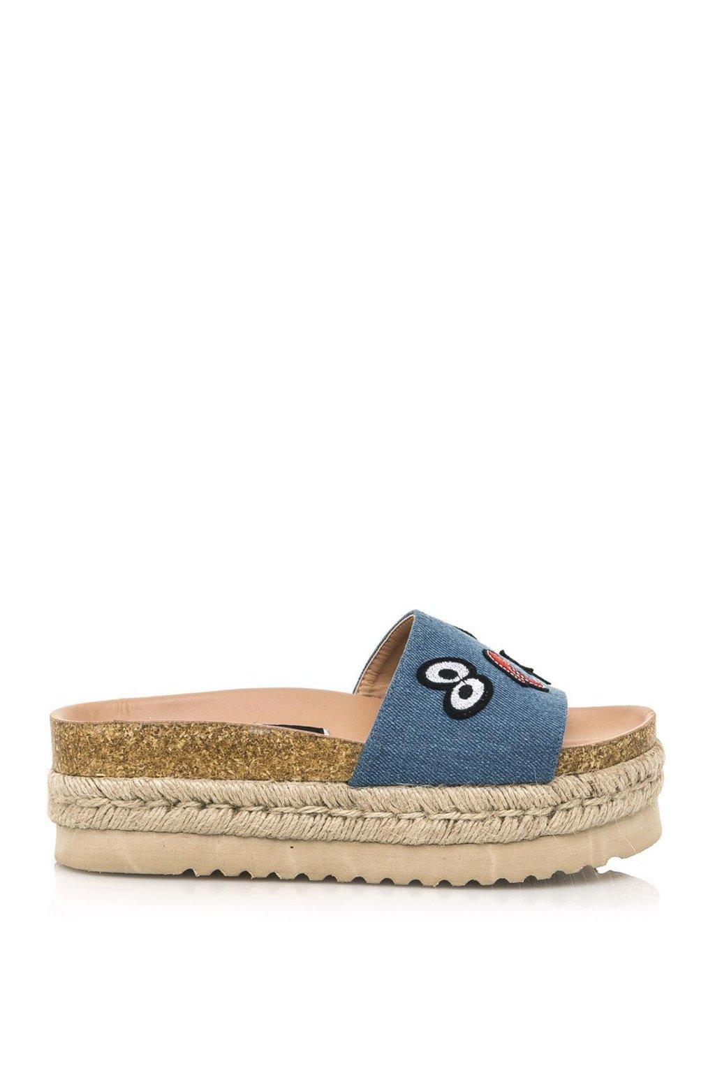 Modré denimové pantofle s espadrilovou podrážkou MTNG