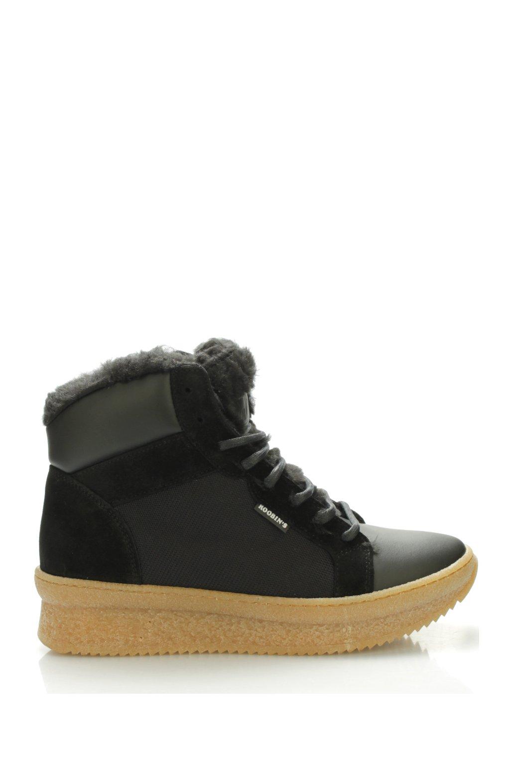 Černé zateplené boty s kožešinou Roobins