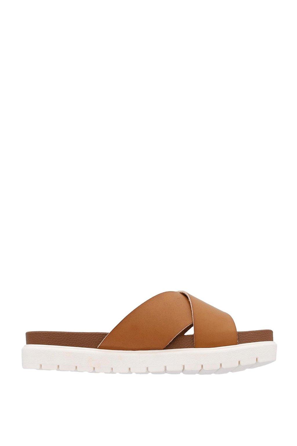 Hnědé pantofle s bílou podrážkou MTNG