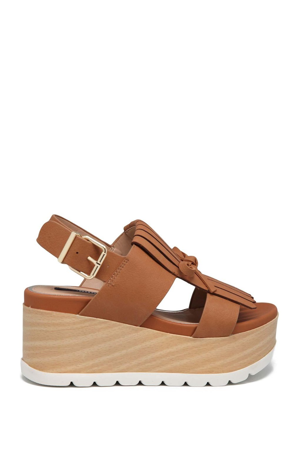 Hnědé sandály s třásněmi na platformě MTNG