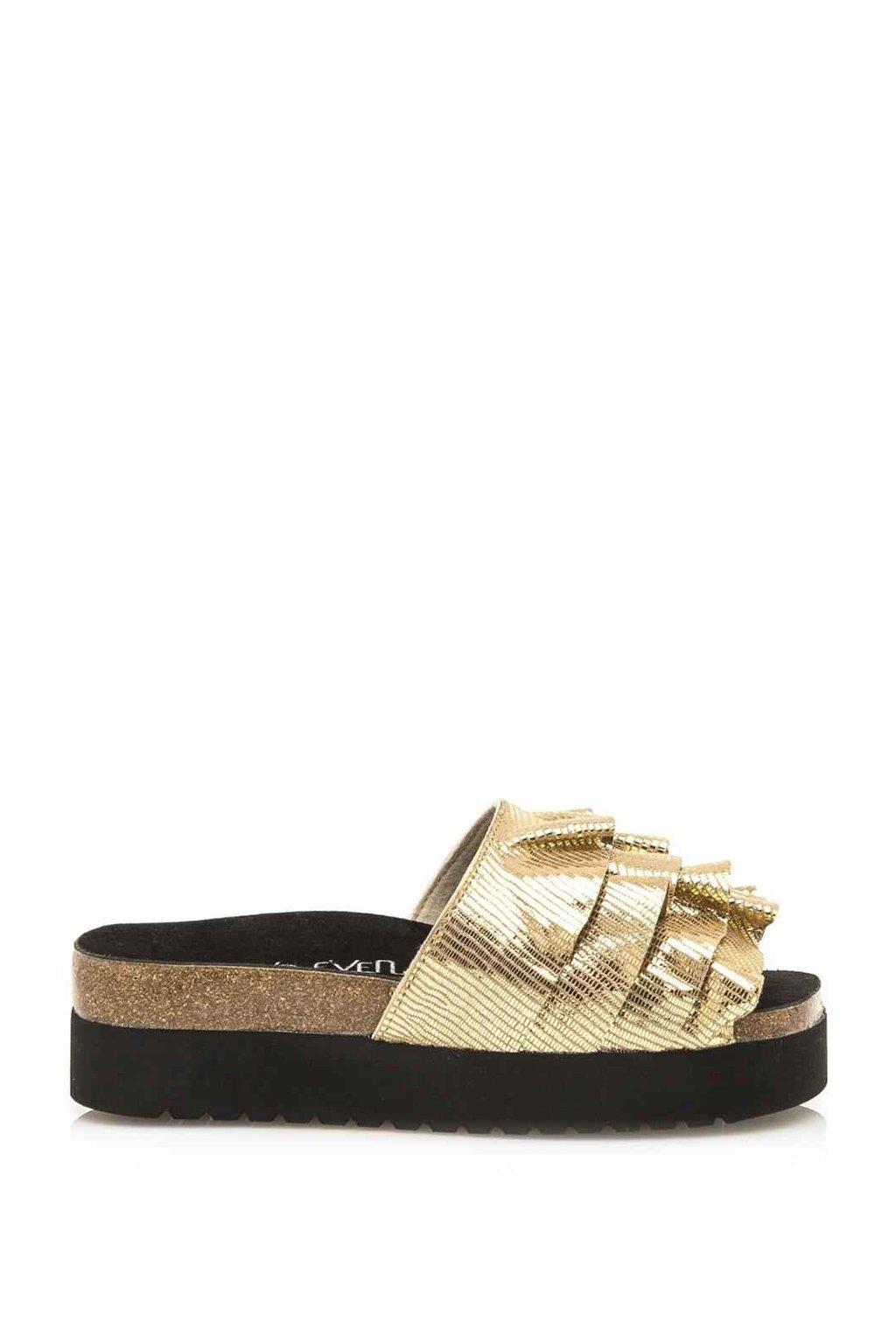 Zlaté pantofle na vysoké podrážce Sixtyseven