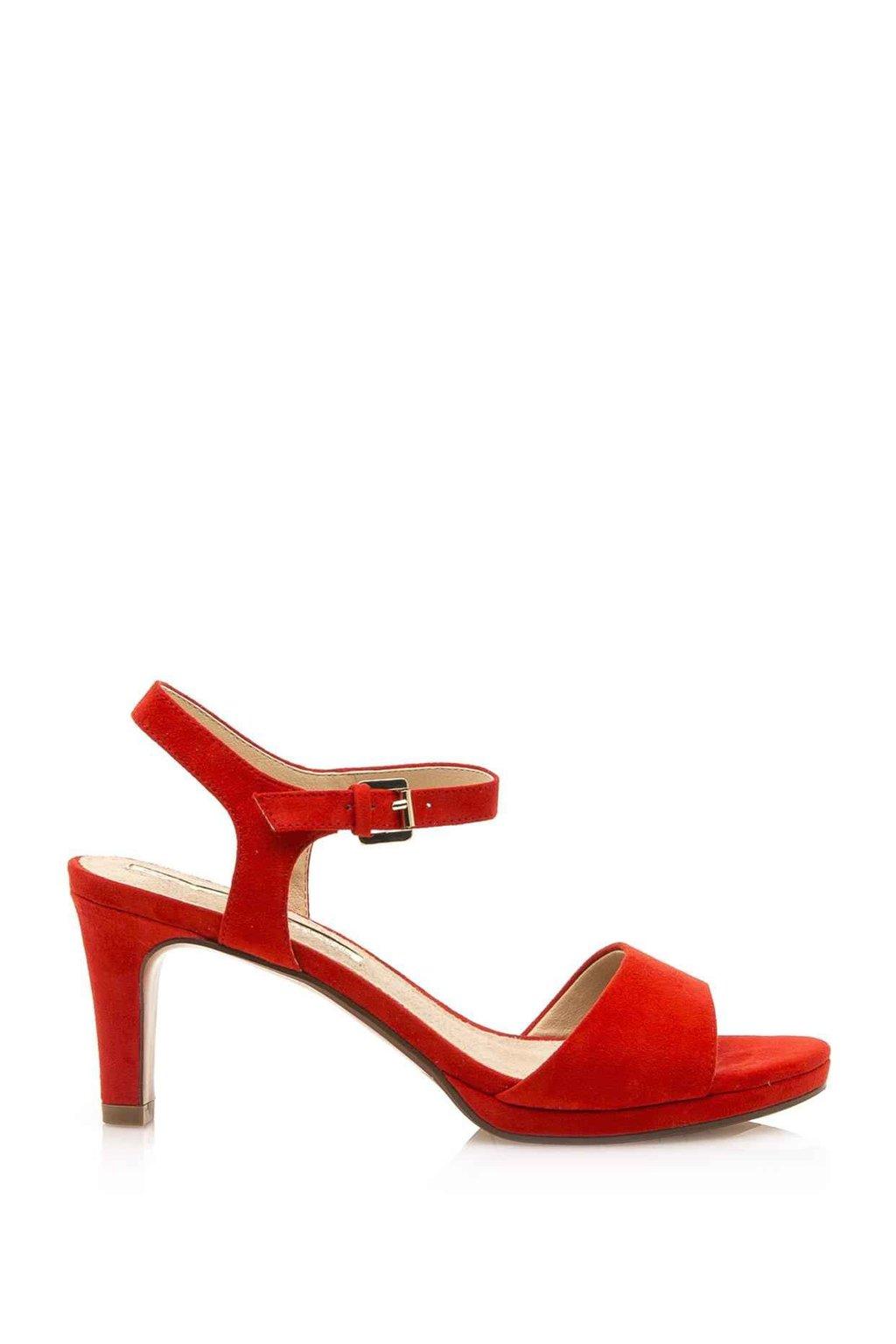 Červené sandály na nižším podpatku Maria Mare