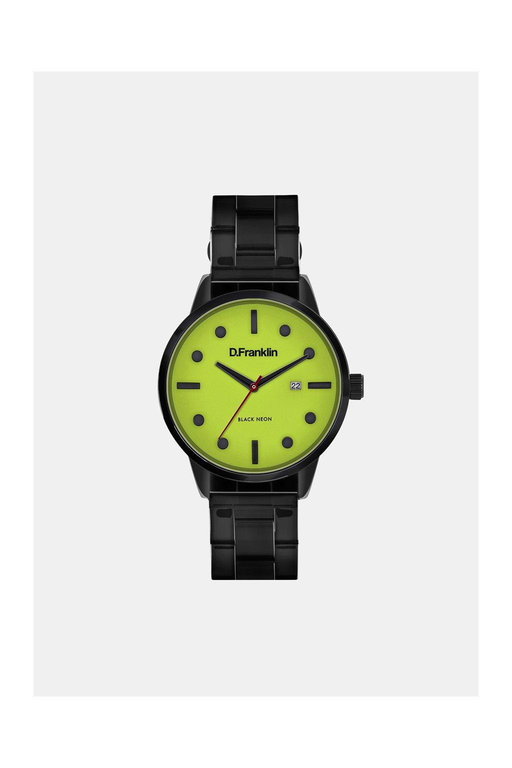 Černé hodinky s neonovým ciferníkem D.Franklin