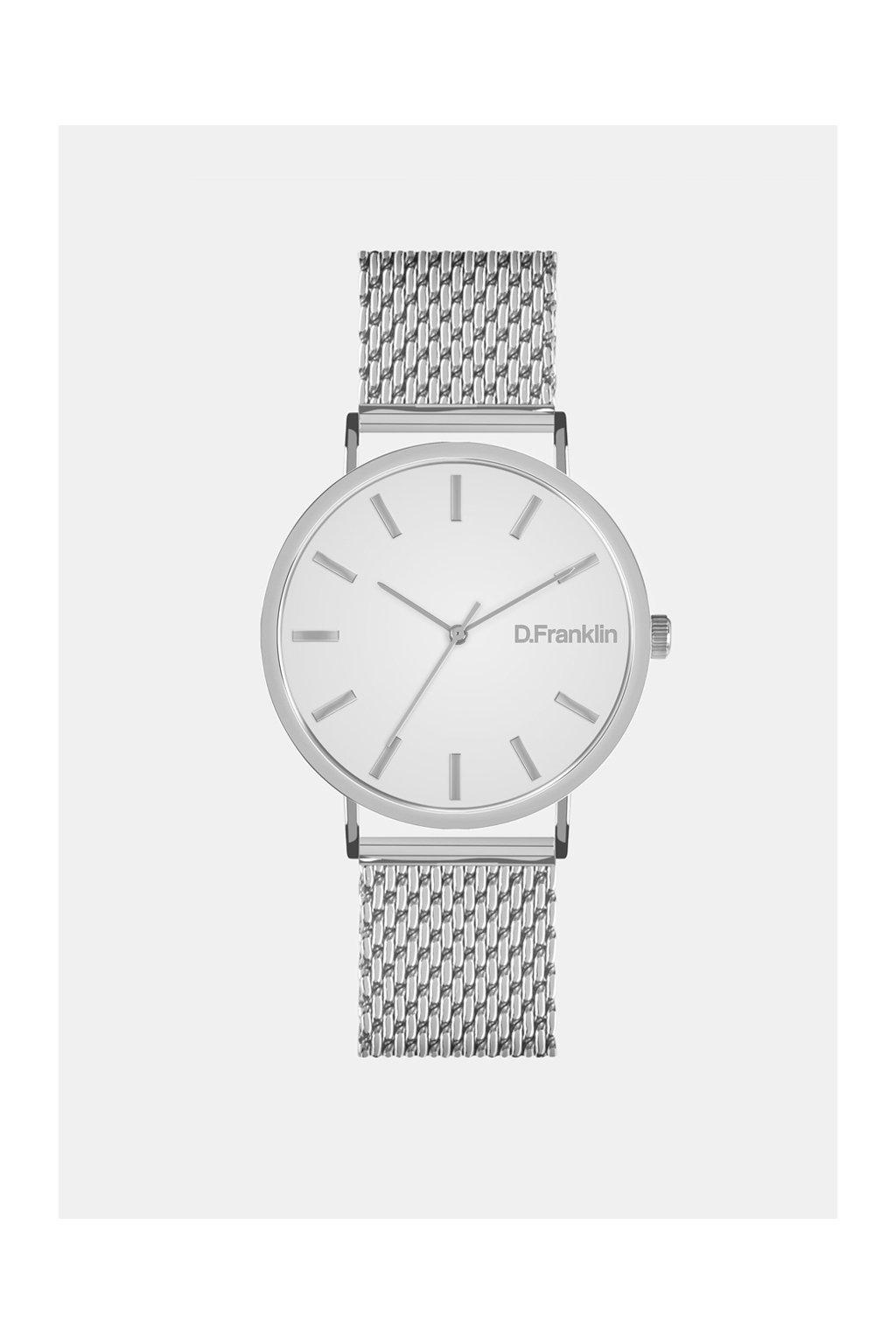 Stříbrné hodinky s bílým ciferníkem D.Franklin