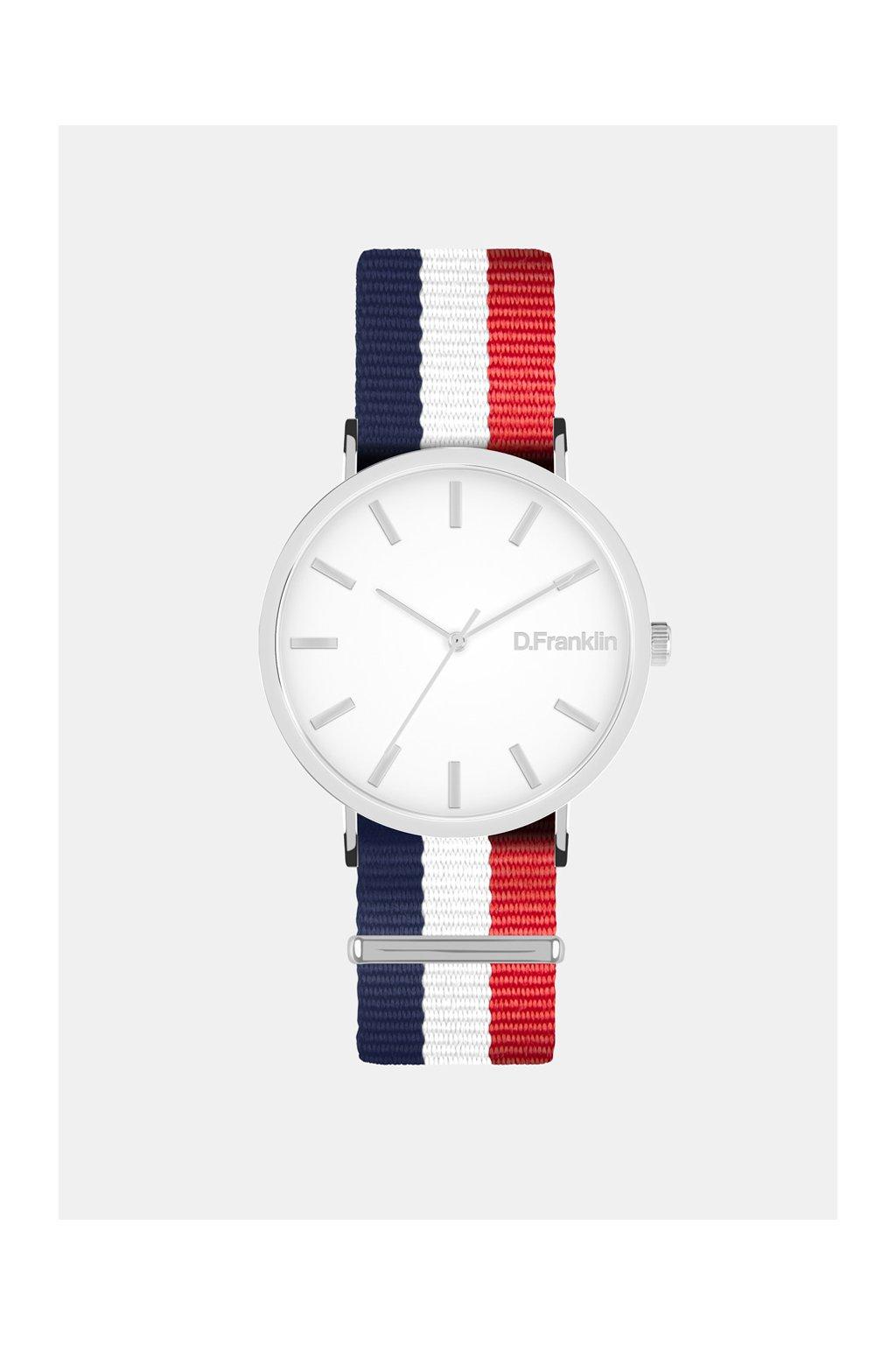 Bílé hodinky s modro červenym páskem D.Franklin
