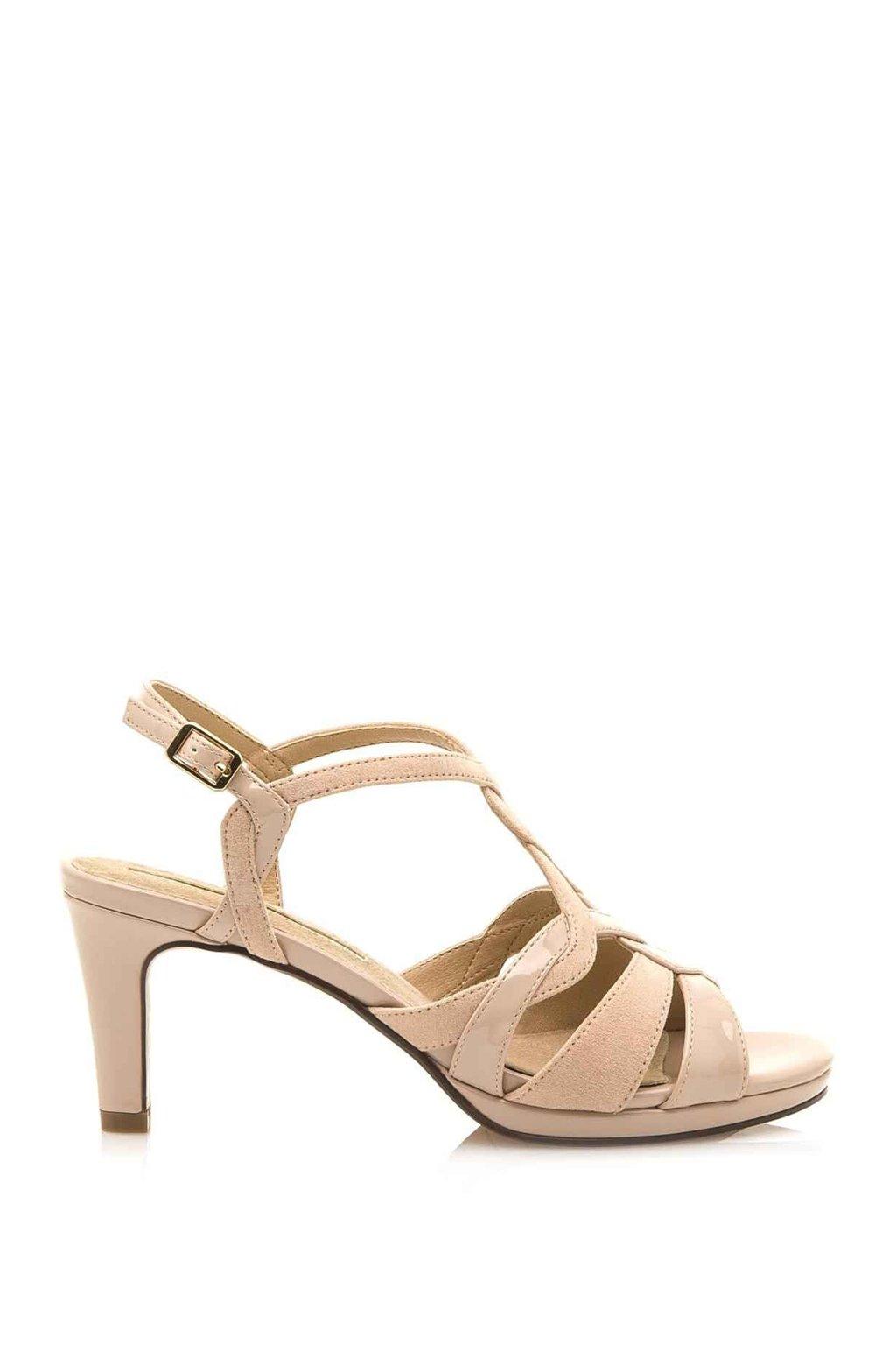 Béžové sandály na podpatku Maria Mare