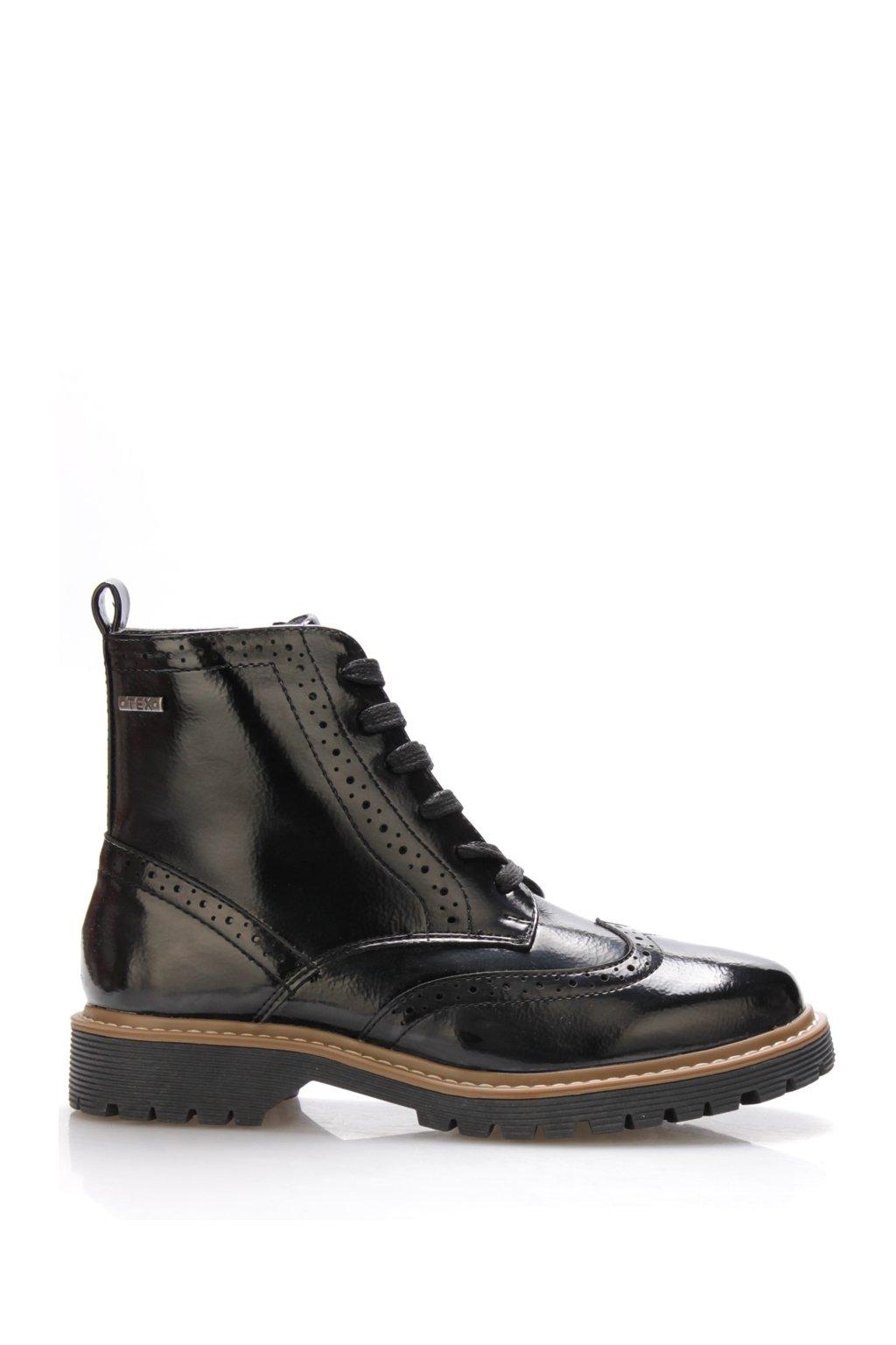 Černé lesklé kotníkové boty Jane Klain