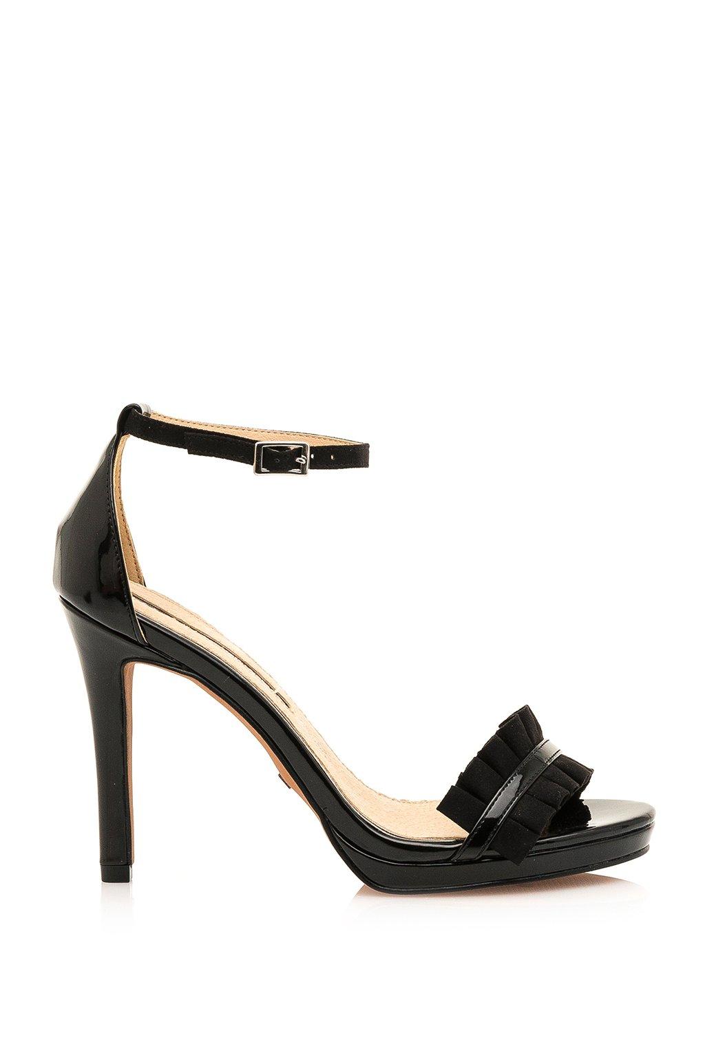 Černé sandálky na vyšším podpatku Maria Mare