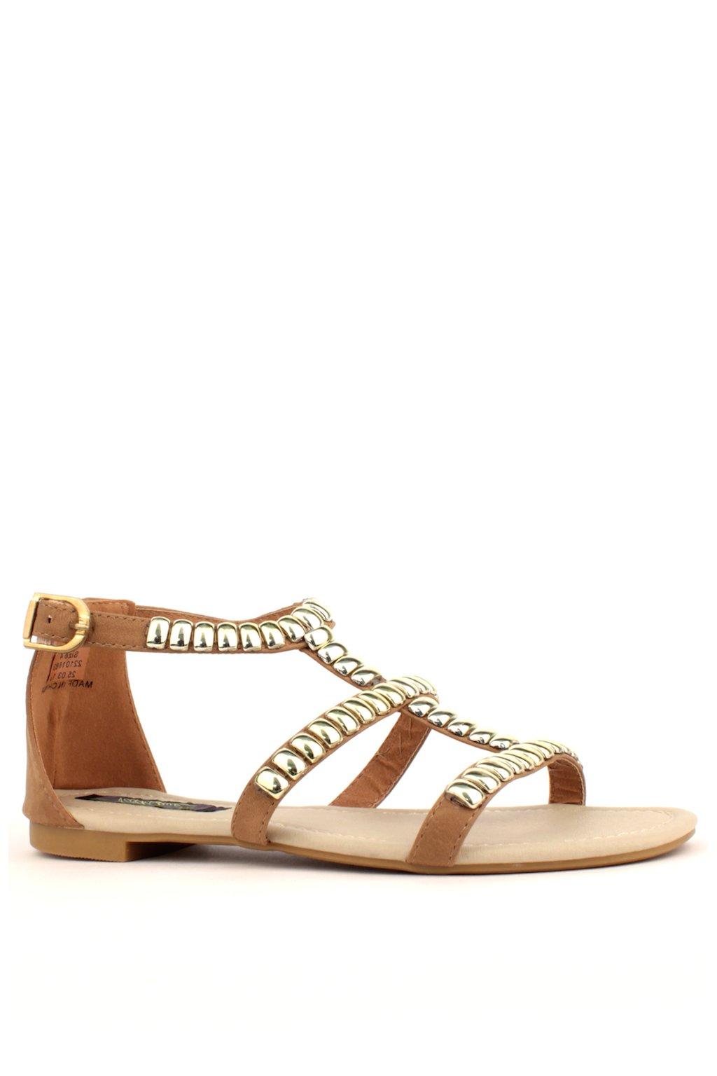 Béžové kožené sandály Park Lane se zlatými cvoky