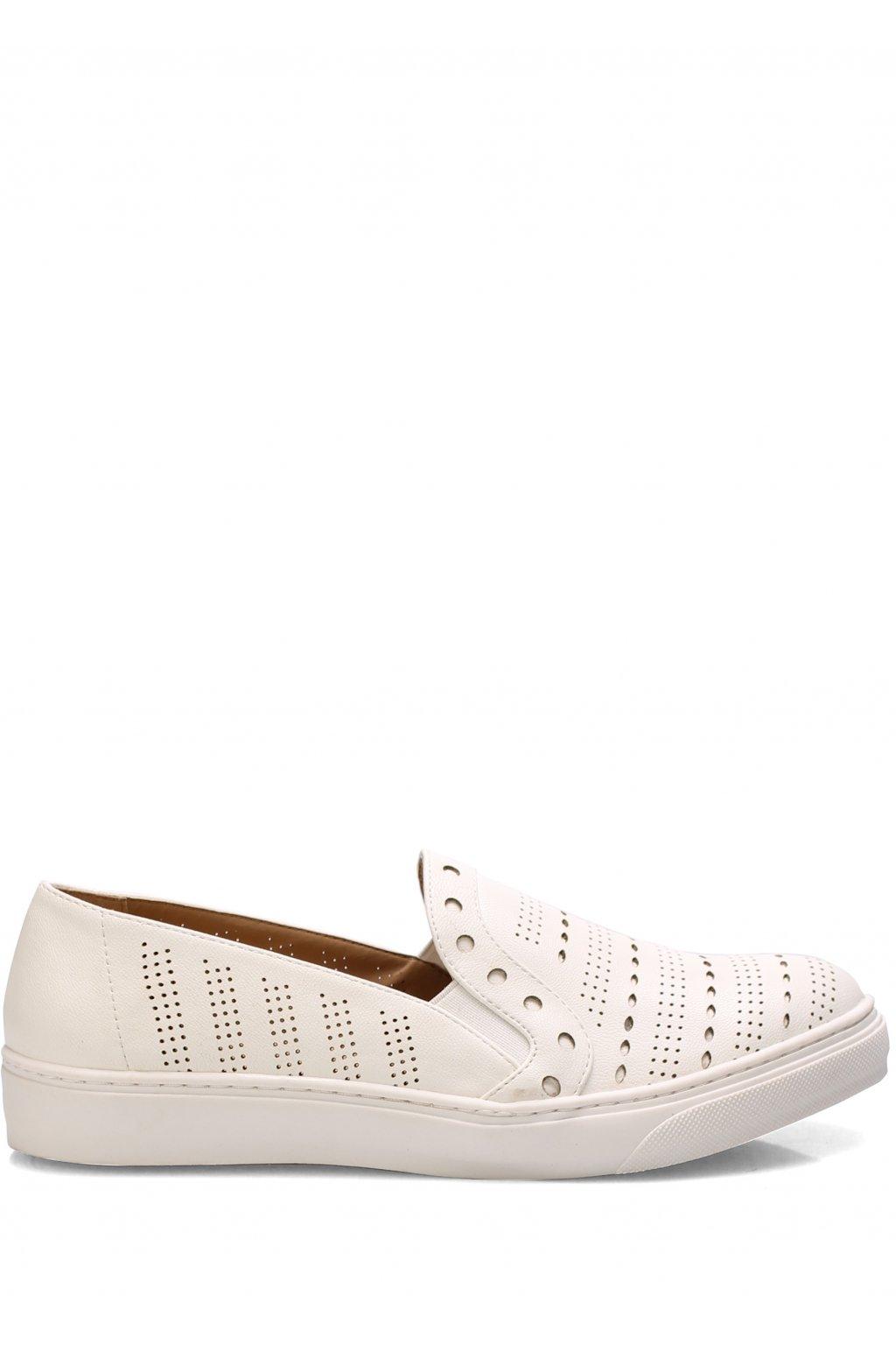 Bílé dírkované nazouvací boty Trendy too
