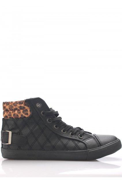 Černé kotníkové tenisky s leopardím lemem Claudia Ghizzani
