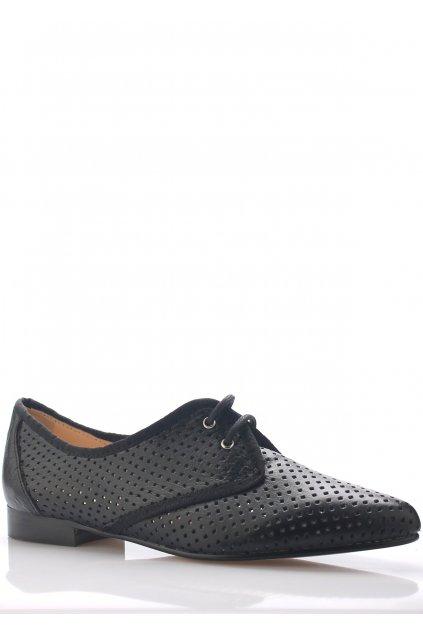 Černé kožené děrované boty se špičkou Maria Jaén