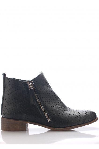 Černé kožené boty se zipem Maria Jaén