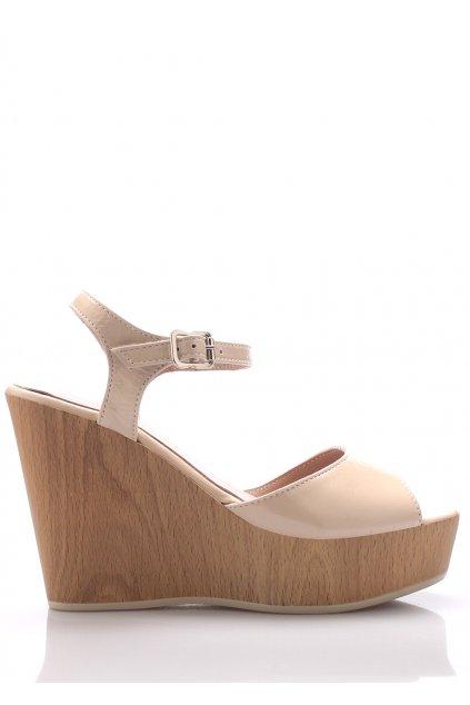 Béžové kožené sandály na klínku Maria Jaén