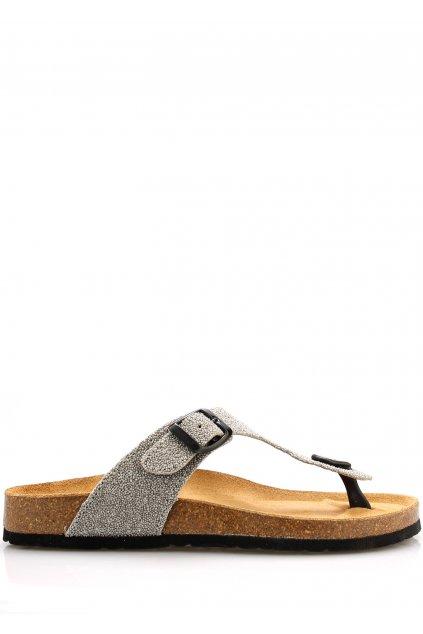 Stříbrné kožené zdravotní žabky EMMA Shoes