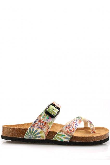Zdravotní bílé kožené květované pantofle EMMA Shoes