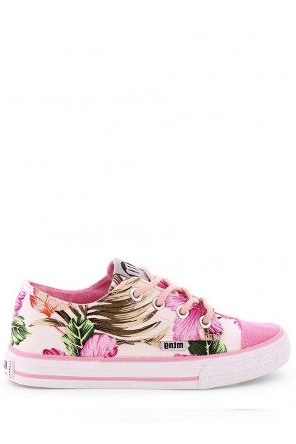 Růžové květované nízké tenisky MTNG