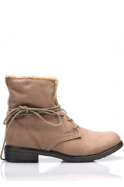 Hnědé šněrovací boty s kožíškem Claudia Ghizzani