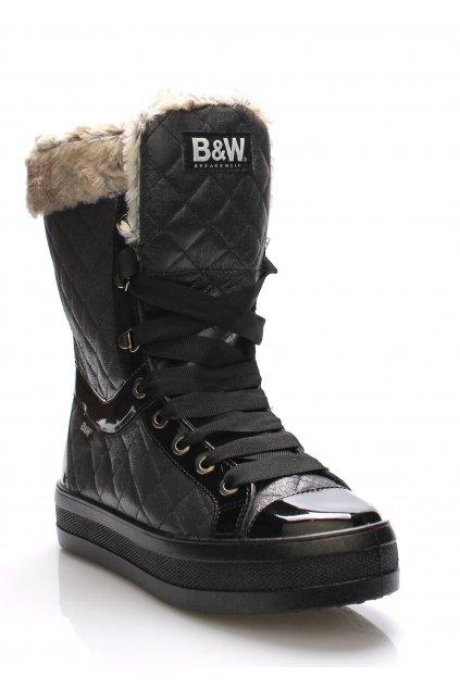 Černé elegantní sněhule s kožíškem Break&Walk
