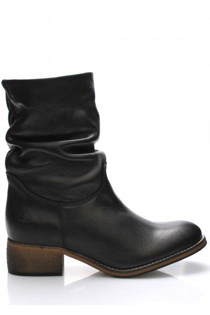 Černé kožené ohrnovací polokozačky Online Shoes