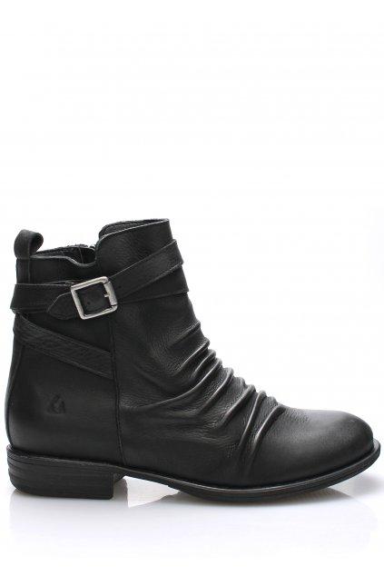 Černé kožené kotníkové boty s řemínkem Online Shoes