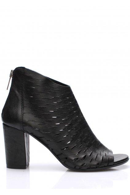 Černé italské kožené boty na podpatku V&C