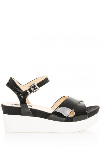 Černé lakované sandály na bílé platformě MTNG