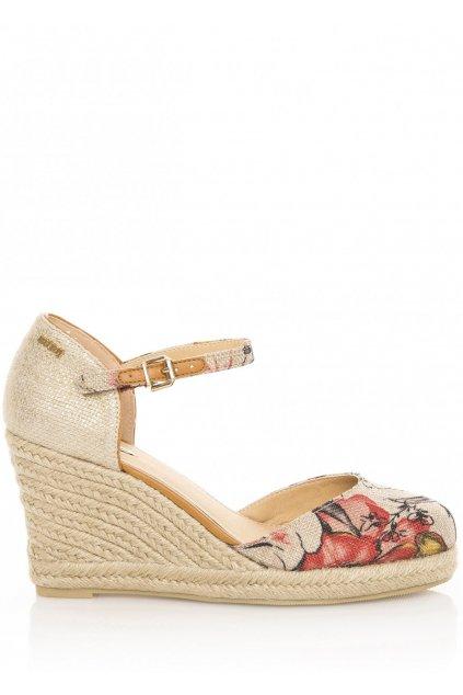 Květované sandály na espadrilovém klínku MTNG