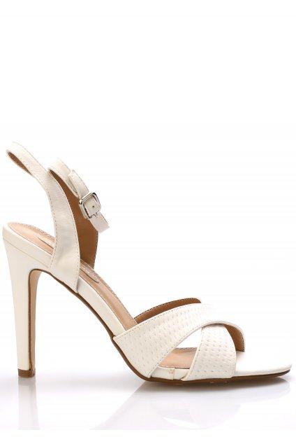 Bílé sandály na podpatku Trendy too