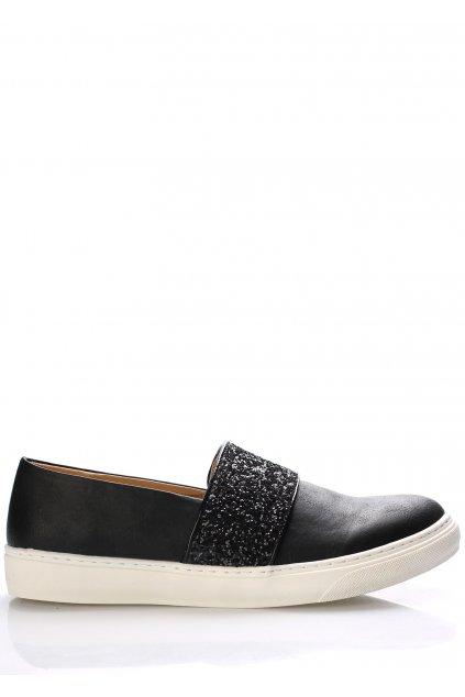 Černé italské nazouvací boty s flitry Trendy too