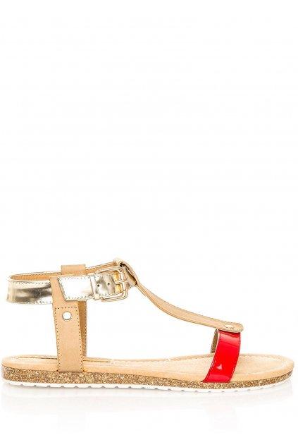 Červeno-zlaté korkové letní sandálky MARIA MARE